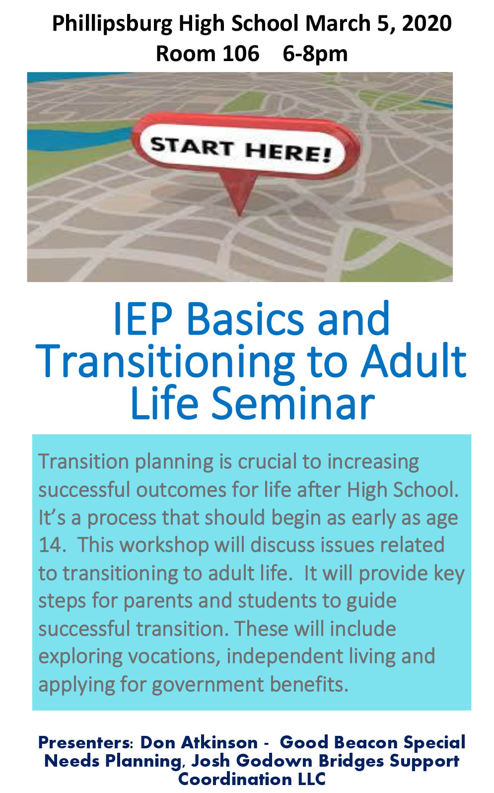 Flyer IEP Basics and Transitioning to Adult Life Feb 2020